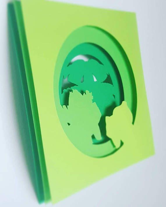 Etsy Pokemon Bulbasaur Evolution Inspired Silhouette Papercraft In 8x8 Frame