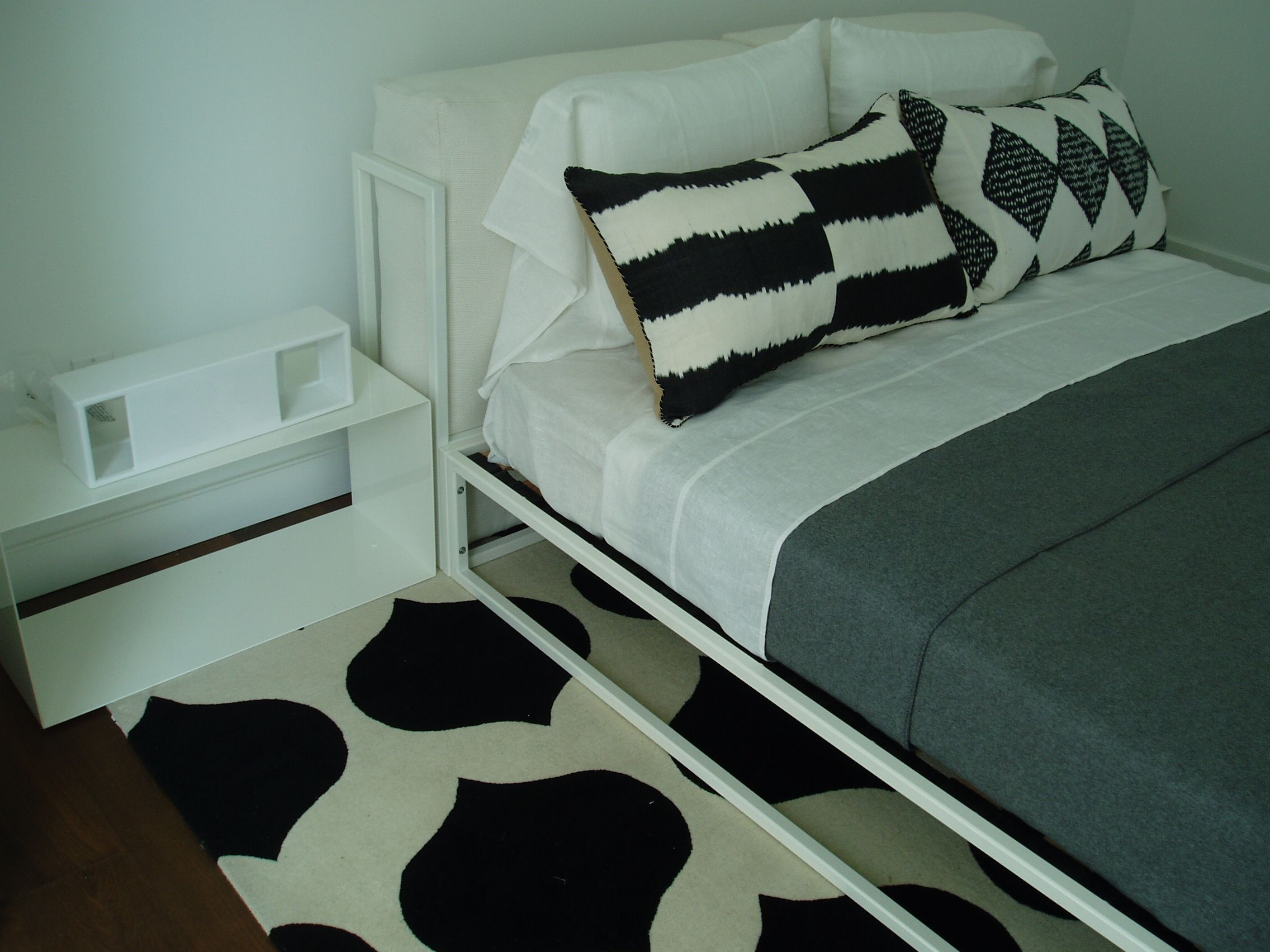 Asha Bed, side tables & Box lights featured in an Apt. in Soho all items from propertyfurniture.com