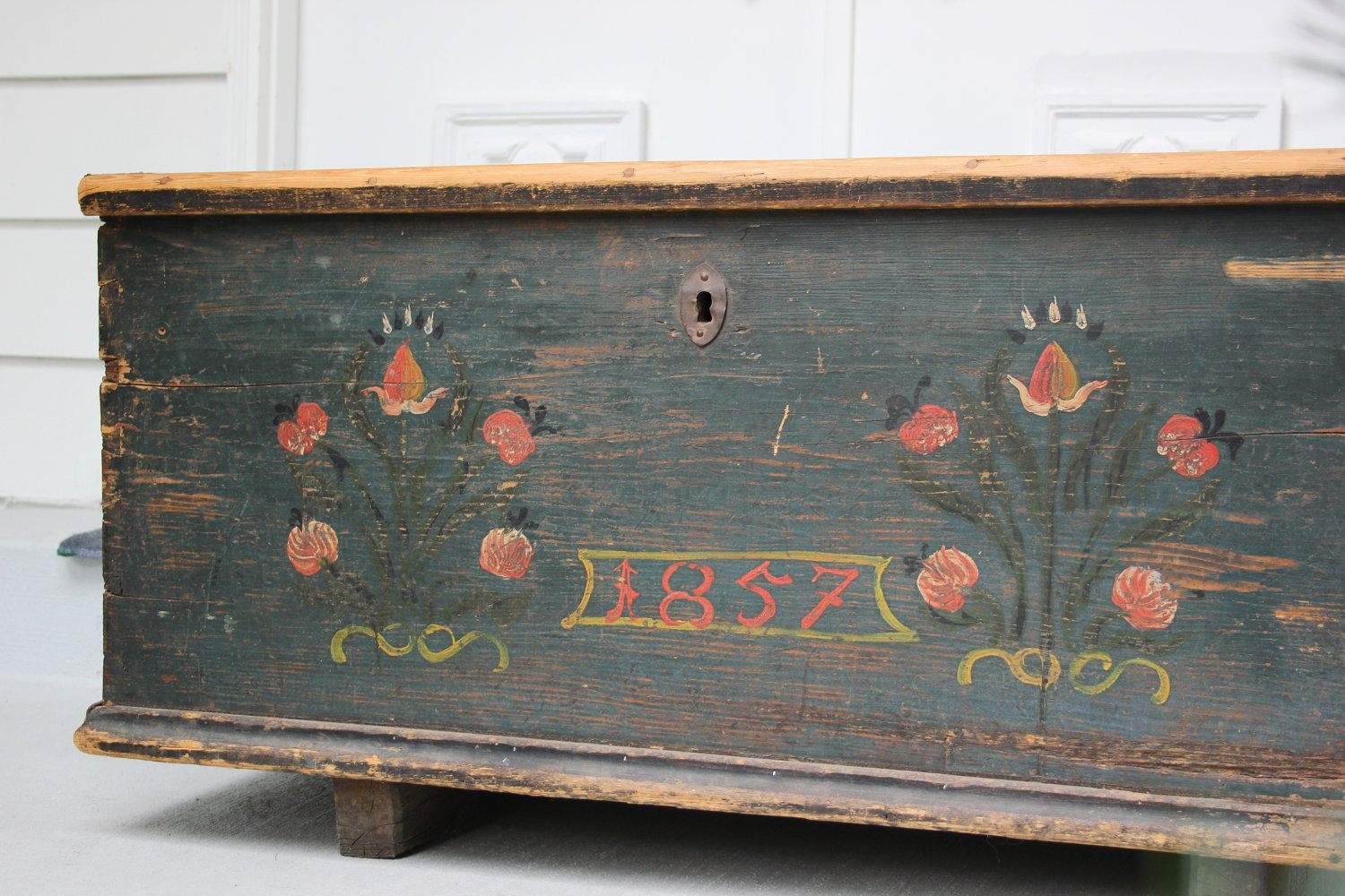 large antique blanket chest with original hand painted floral folk art  1800s. via Etsy. - Large Antique Blanket Chest With Original Hand Painted Floral Folk