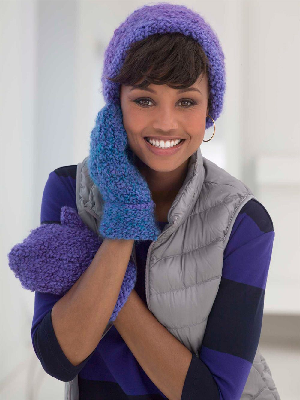 True Blue Hat and Mittens in Lion Brand Homespun Thick & Quick ...