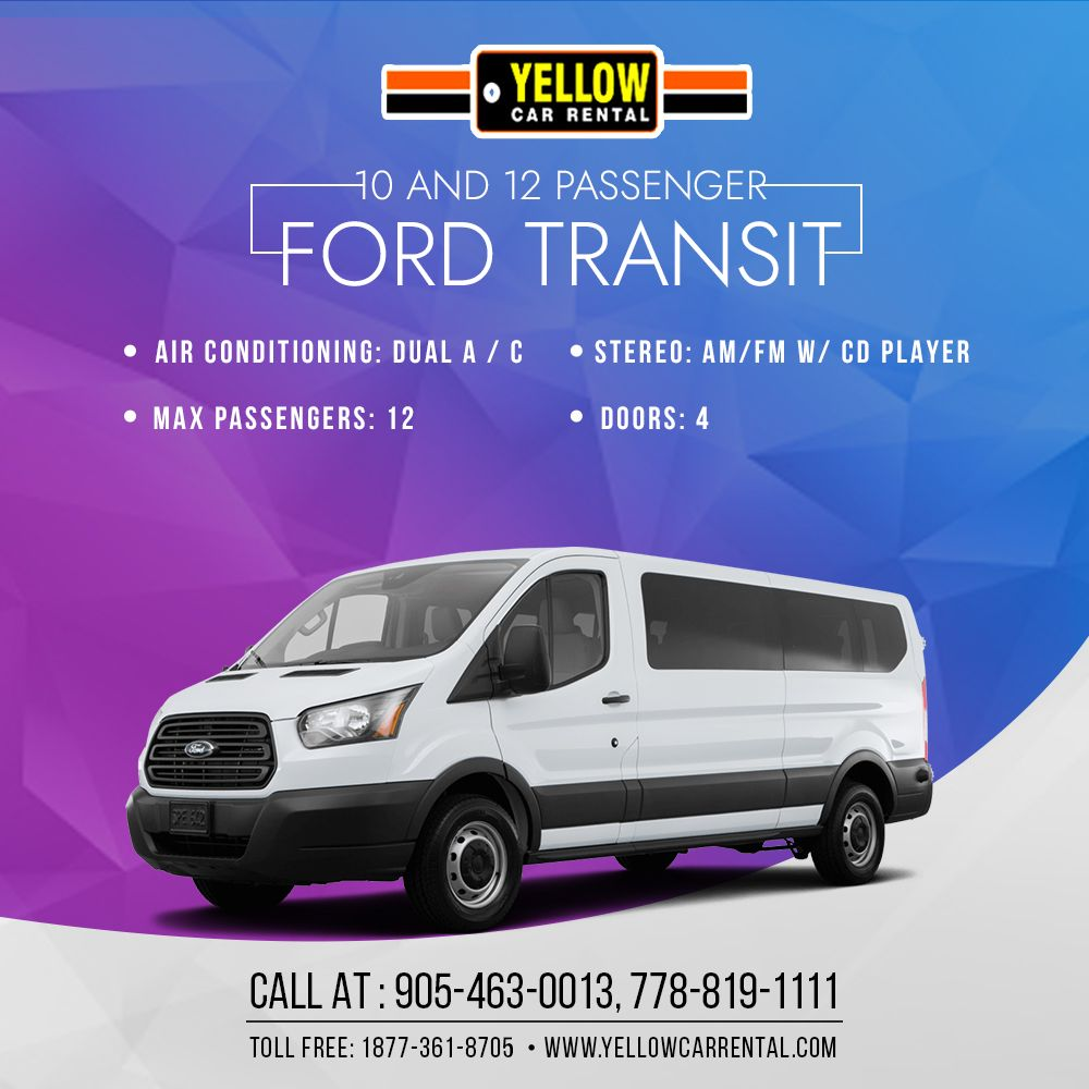 Rent elite 10 & 12 Passenger Ford Transit in Canada when