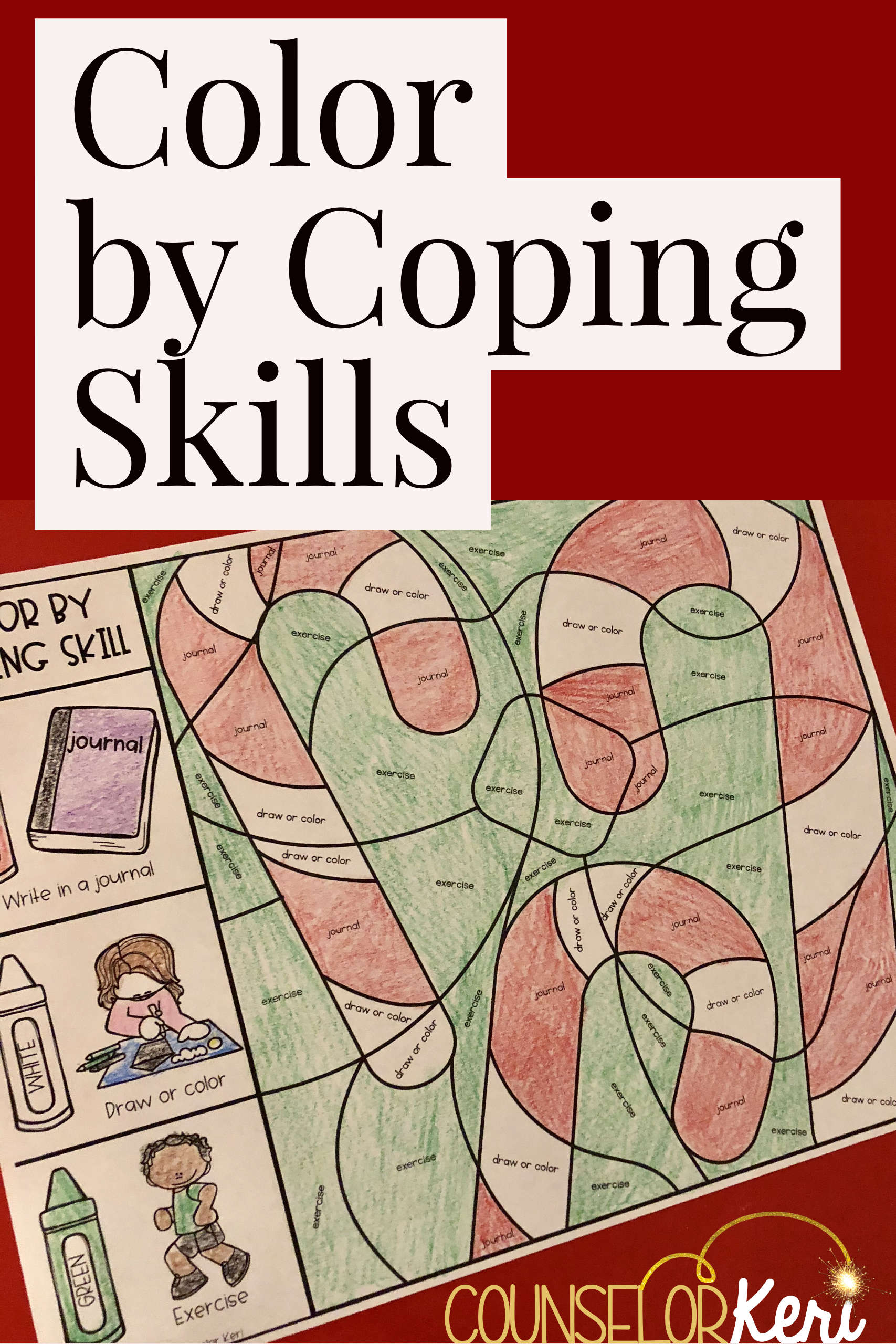 Color by Coping Skills Christmas Holiday Activity Elementary School