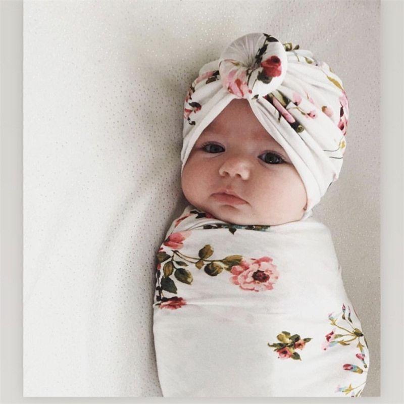 Newborn Girl Coming Home Set Newborn Girl Baby Clothes Newborn Hat OR Newborn Headband Floral Swaddle Blanket Floral Swaddle Set.