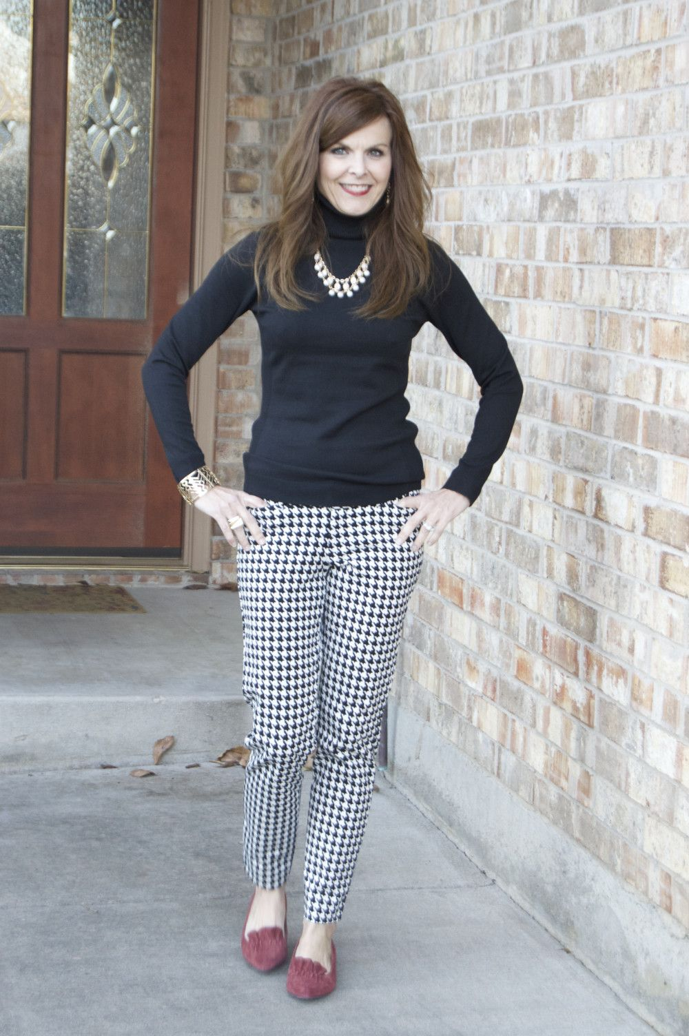 dccfa94b6e Houndstooth Pixie Pants (Old Navy) + Black Turtleneck (The Limited) + Shoes  (DSW)