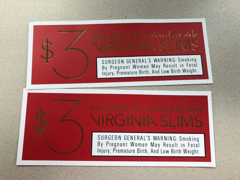 image about Virginia Slims Coupons Printable known as 2 $3.00 off Virginia Slims Cigarette Discount codes eBay