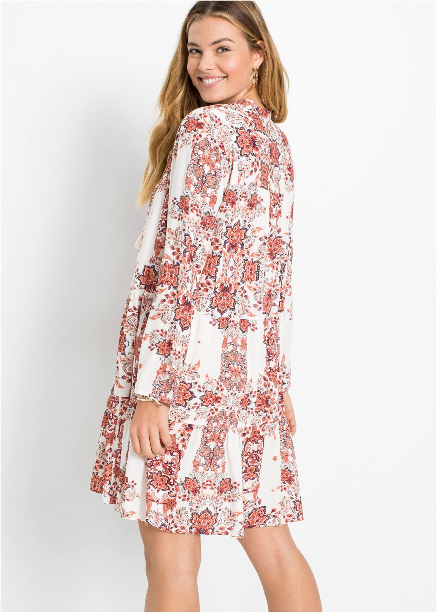 Blusenkleid Cremeweiss Gemustert Damen Rainbow Blusenkleid Modestil Kleider