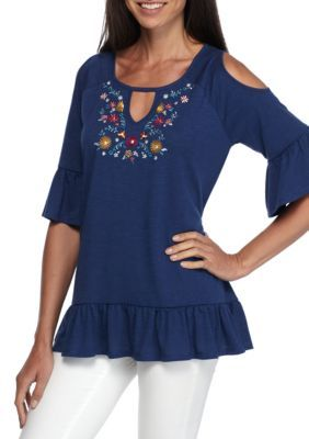 bc076fccb857dc New Directions Weekend Women s Cold Shoulder Bell Sleeve Embroidered  Flounce Top - Indigo - Xl