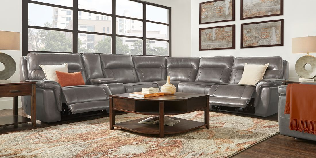 Renzo Gray Leather 6 Pc Dual Power Reclining Sectional Living Room Leather Leather Reclining Sectional Reclining Sectional
