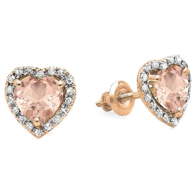 1 2/3 CT TW Pink Morganite and Diamond 18K Rose Gold Heart Halo Stud Earrings