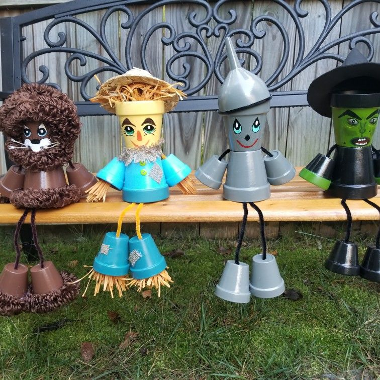 Wizard Of Oz Pot People Characters Clay Pot Crafts Flower Pot Crafts Painted Clay Pots