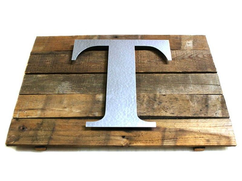 Wood & Galvanized Metal Letter Rustic Wall Plaque Made From Reclaimed Pallet Boards And A