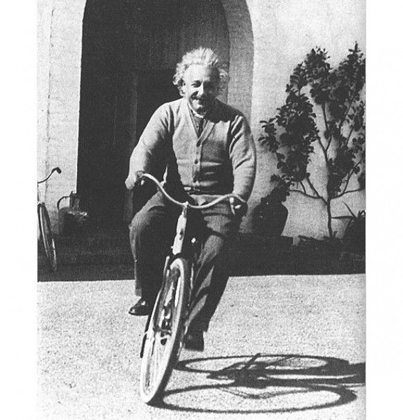 "E-bike = mc"" Albert Einstein rides a bike."