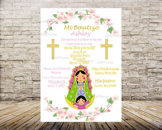virgen de guadalupe invitation bautizo invitation virgen de