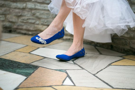 Bridal Flats Cobalt Blue Ballet Wedding Shoes With Ivory Lace