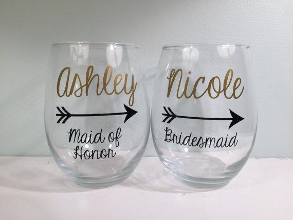 personalized bridesmaid wine glass bridesmaid proposal