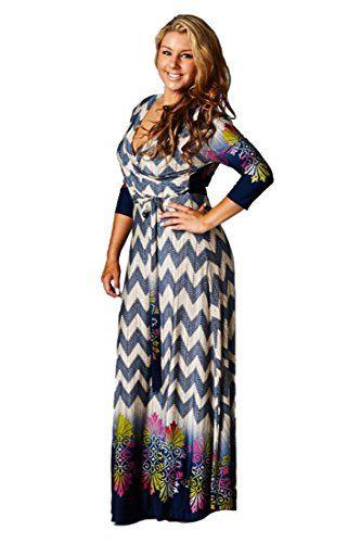 118206dd0cd Fashion Bug Plus Size 3 4 Sleeve Surplus Wrap Floral Paisly Chevron Maxi  Dress. www.fashionbug.us  curvy  plussize  FashionBug