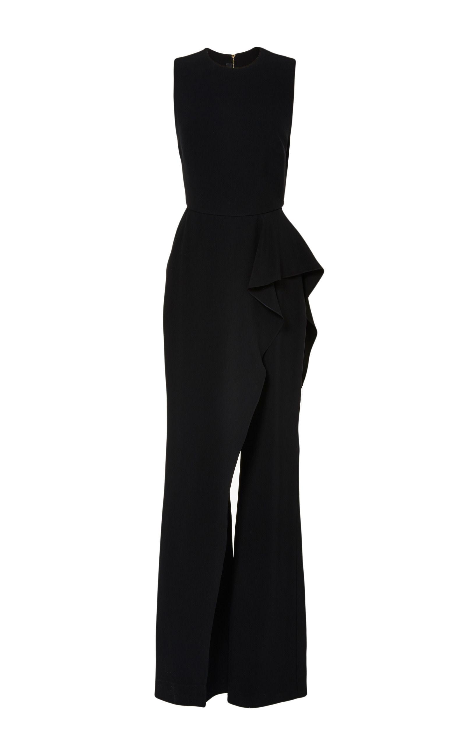 Black Stretch Cady Jumpsuit by Elie Saab for Preorder on Moda Operandi