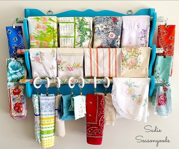 Would you believe that this gorgeous fabric storage piece actually began as a wooden gun rack?  Sarah from Sadie Seasongoods shows how she recreated the dated gun rack into a beautiful way to organ…