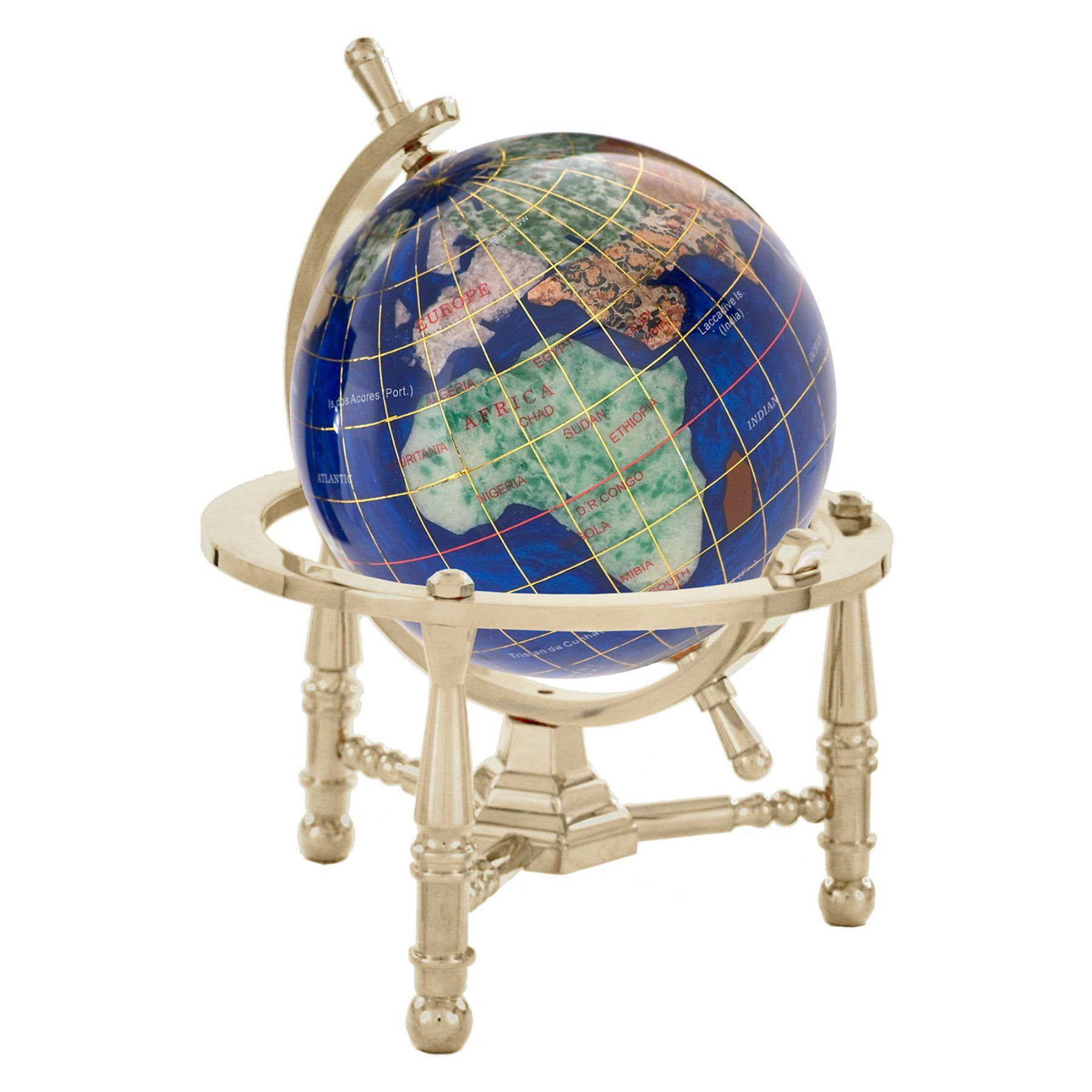 Kalifano caribbean blue 3 in gemstone globe with nautical stand kalifano caribbean blue 3 in gemstone globe with nautical stand gnt80as cb gumiabroncs Image collections