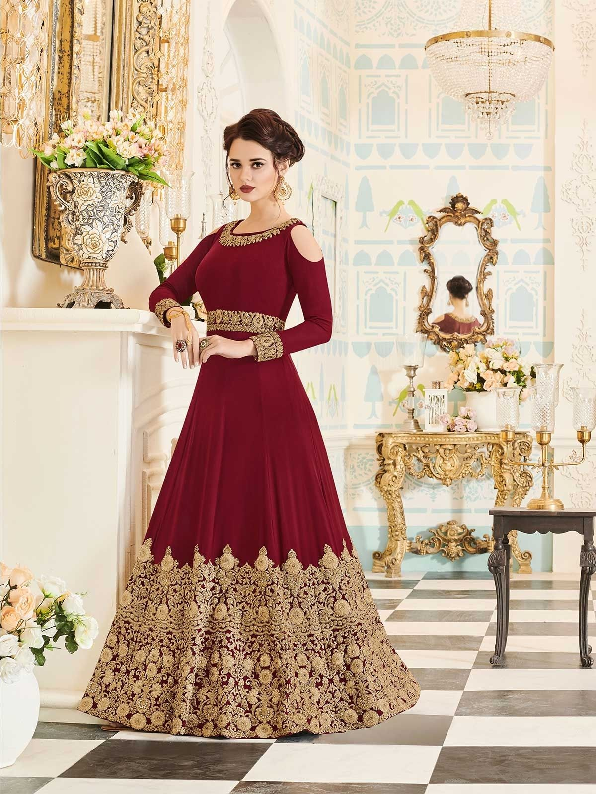 c1f07dba9 Buy latest designer maroon color party wear Indian anarkali suit dresses  collection online at ZaraaFab UK. Find best designs and collection in  umbrella ...