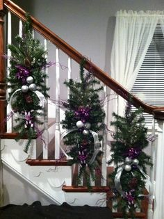 christmas stair swags google search - Stairway Christmas Decorating Ideas Pinterest