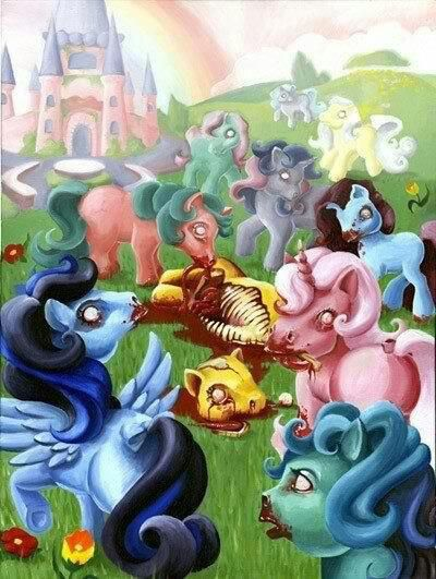 Rainbow Gore - in vogue these days - My Little Ponies cannibalism zombies fantasy nightmare