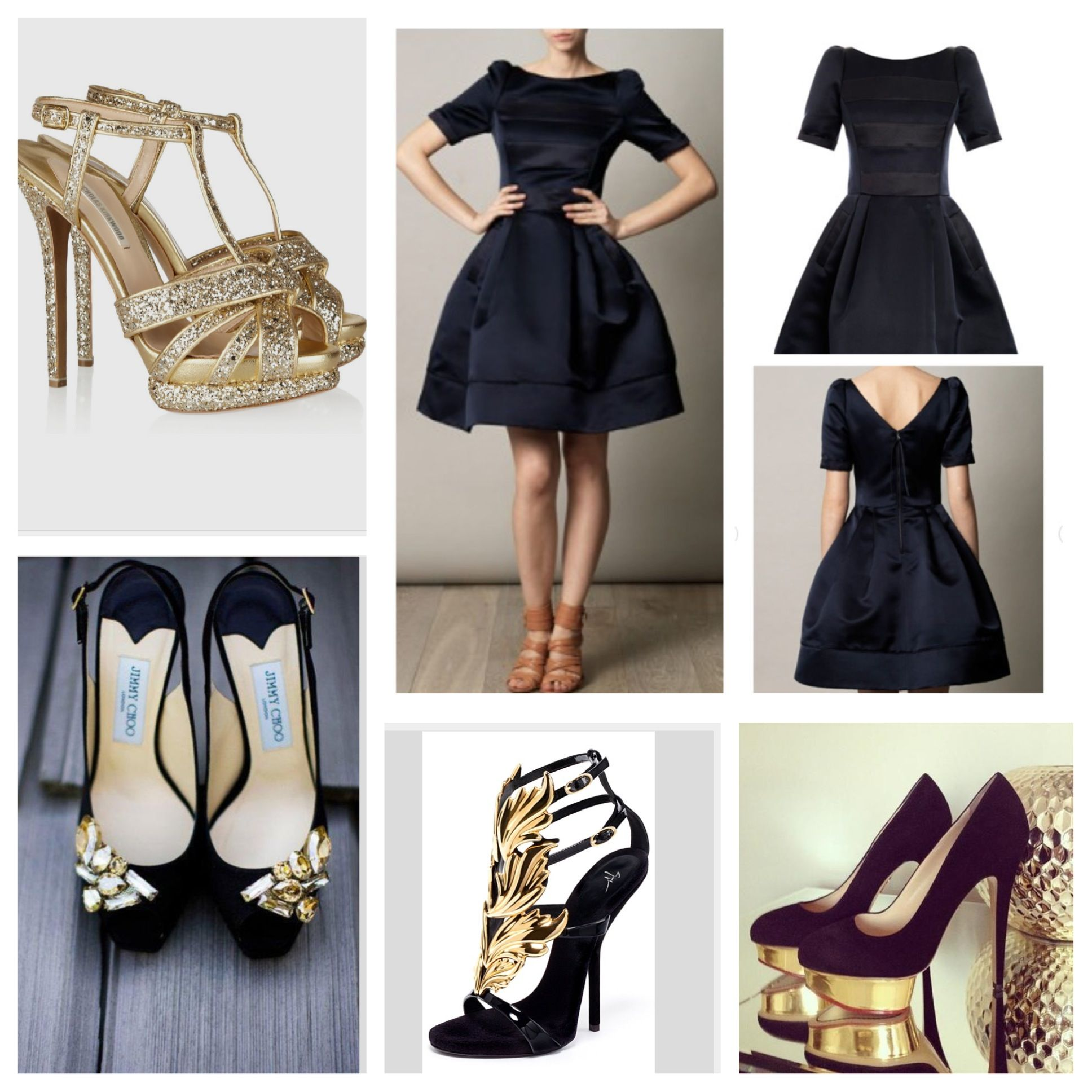 Black dress with black shoes - Black And Gold Shoes And Little Black Dress