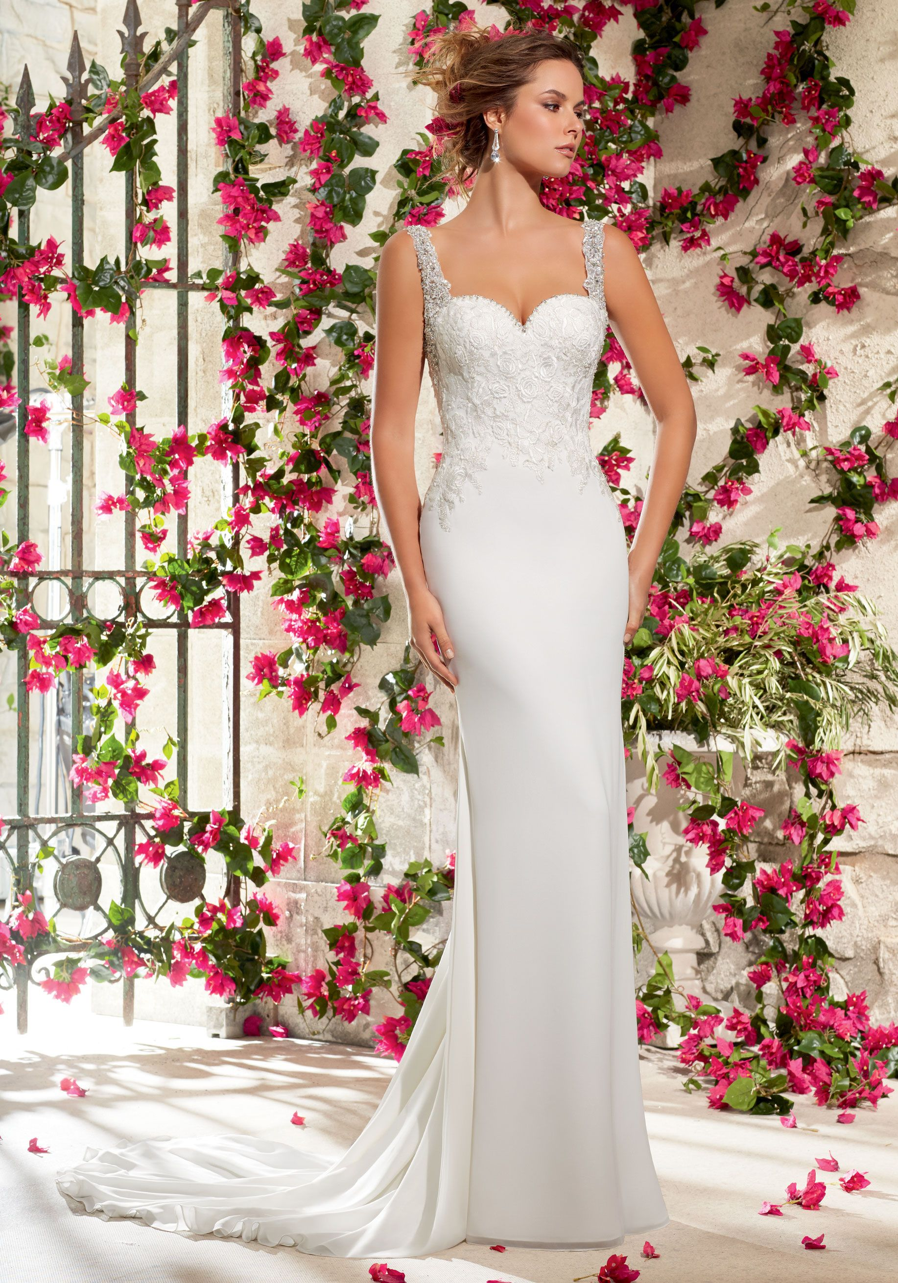 Elegant Wedding Dress Chiffon Georgette with Embroidery and Crystal Beading Designed by Madeline Gardner. Colors available: White/Silver and Ivory/Silver.