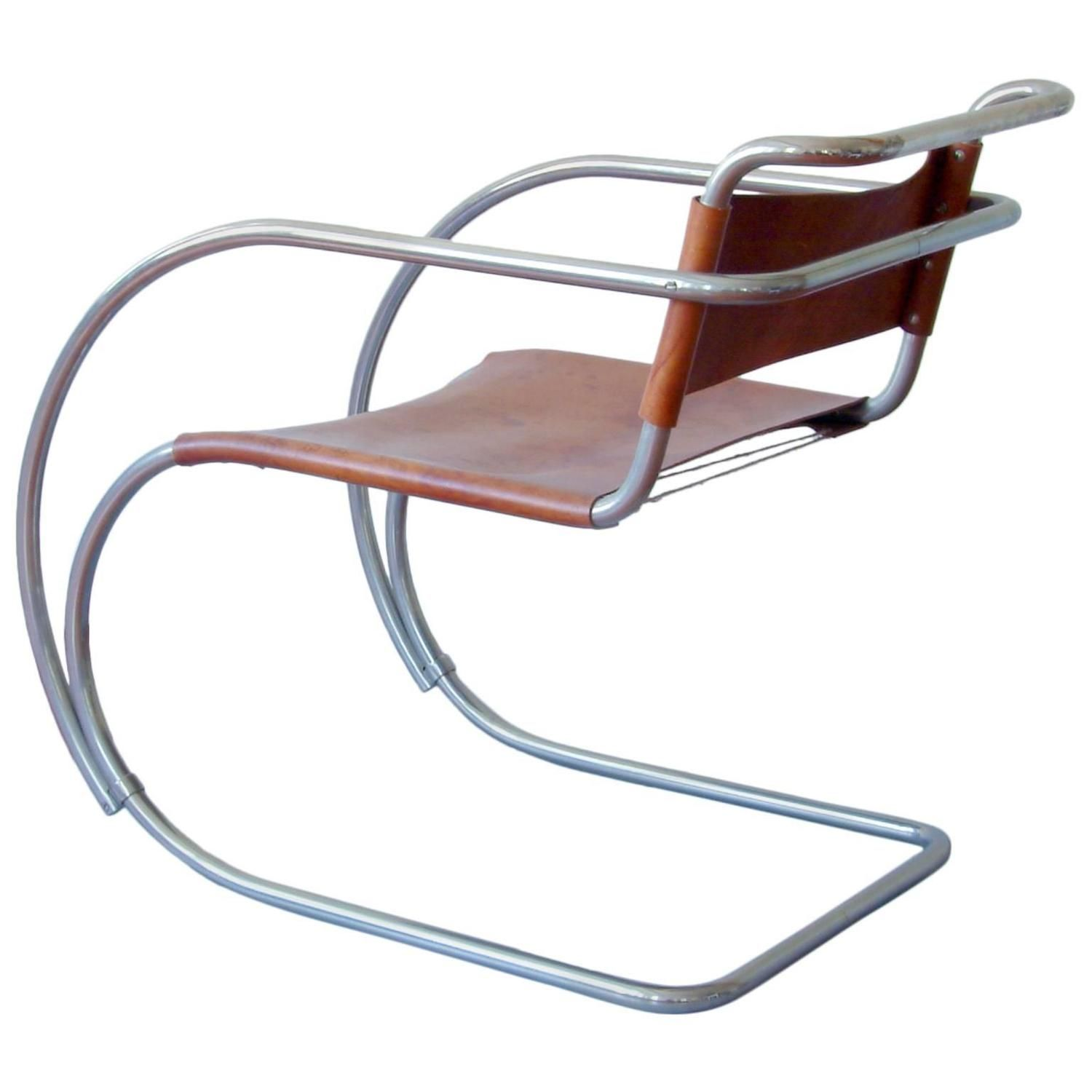 Rare Tubular Steel Cantilever Chair MR 20 by Ludwig Mies van der