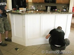 Lovely Beadboard Board And Batten Kitchen Island Makeover And Adding Bottom  Moulding