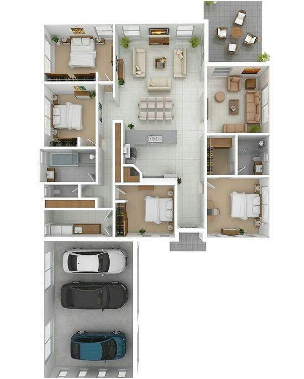 Denah Rumah 4 Kamar : denah, rumah, kamar, Denah, Rumah, Kamar, Tidur, Terbaru, Rumah,, Minimalis