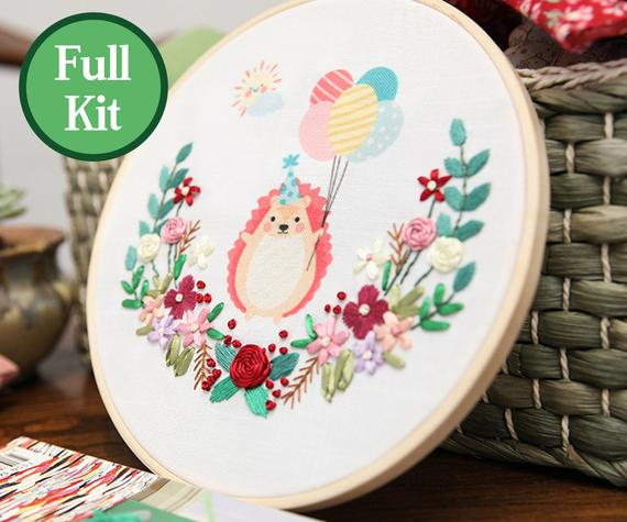 Hand Embroidery Cross Stitch Cartoon Patterns Sampler Kit for Beginners DIY