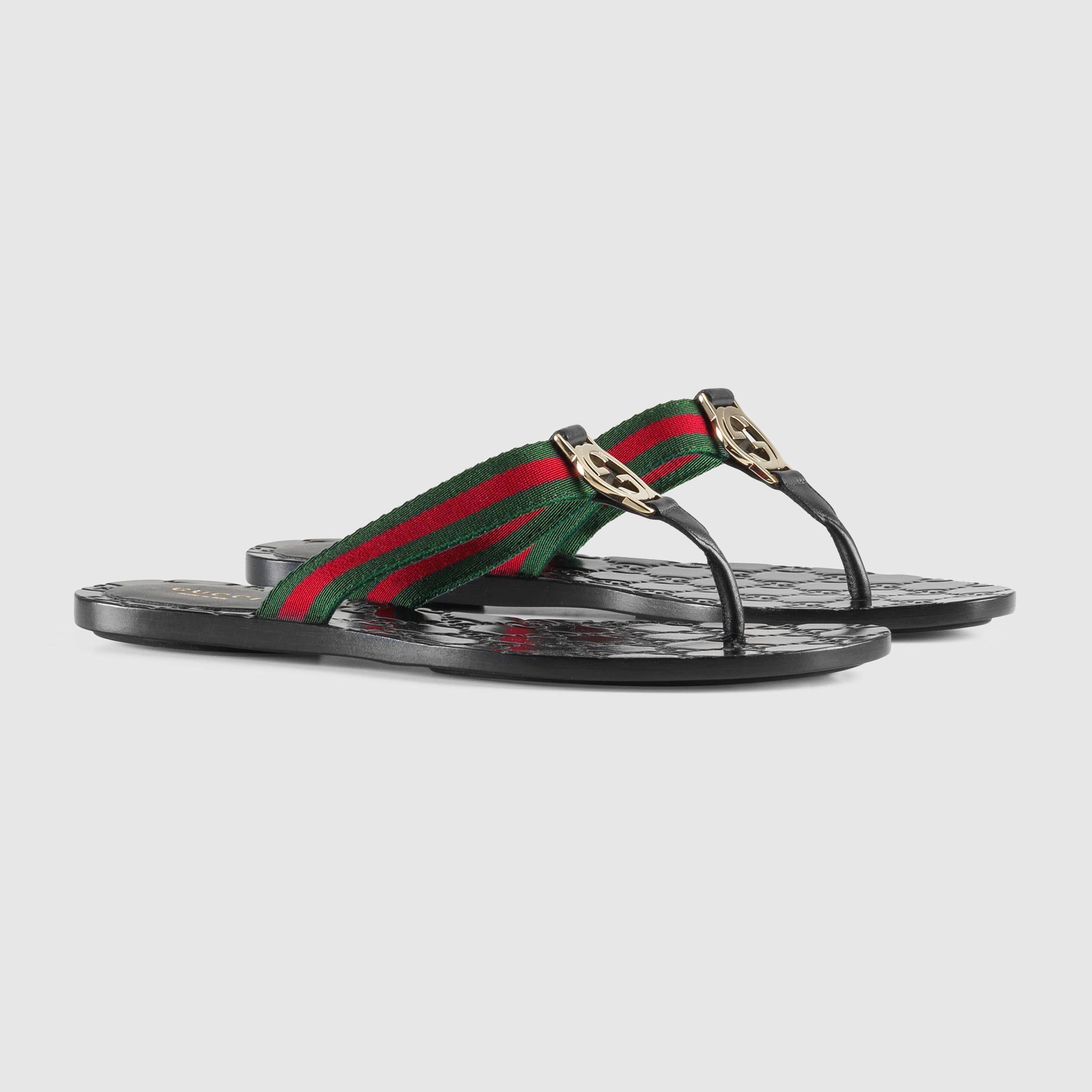 a56218f25 Gucci GG thong Web sandal Detail 2