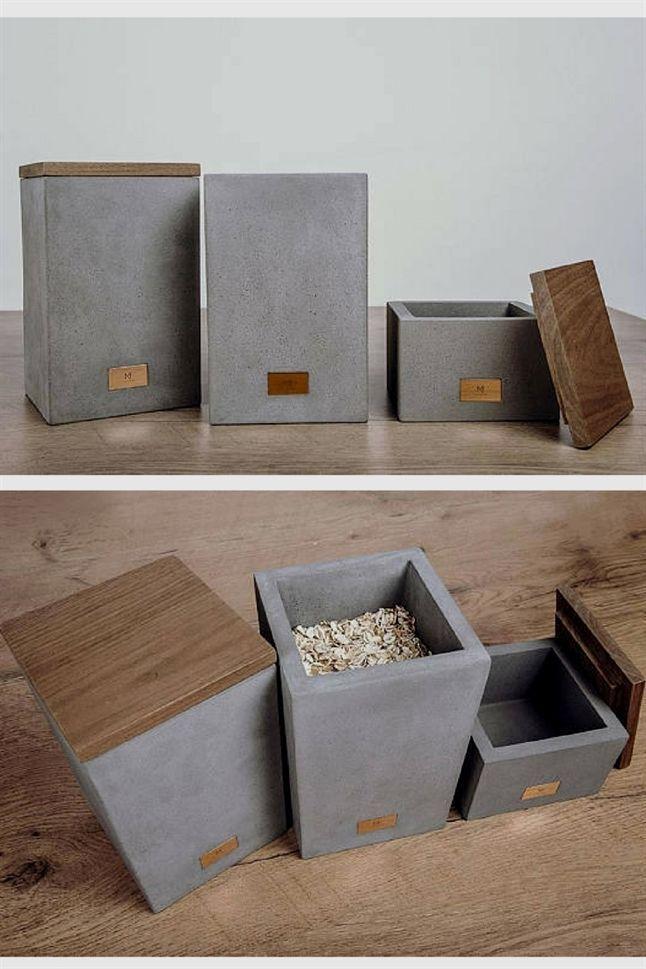 Ich liebe diese Aufbewahrungsboxen aus Beton und Holz. Das kleine Kupferelement