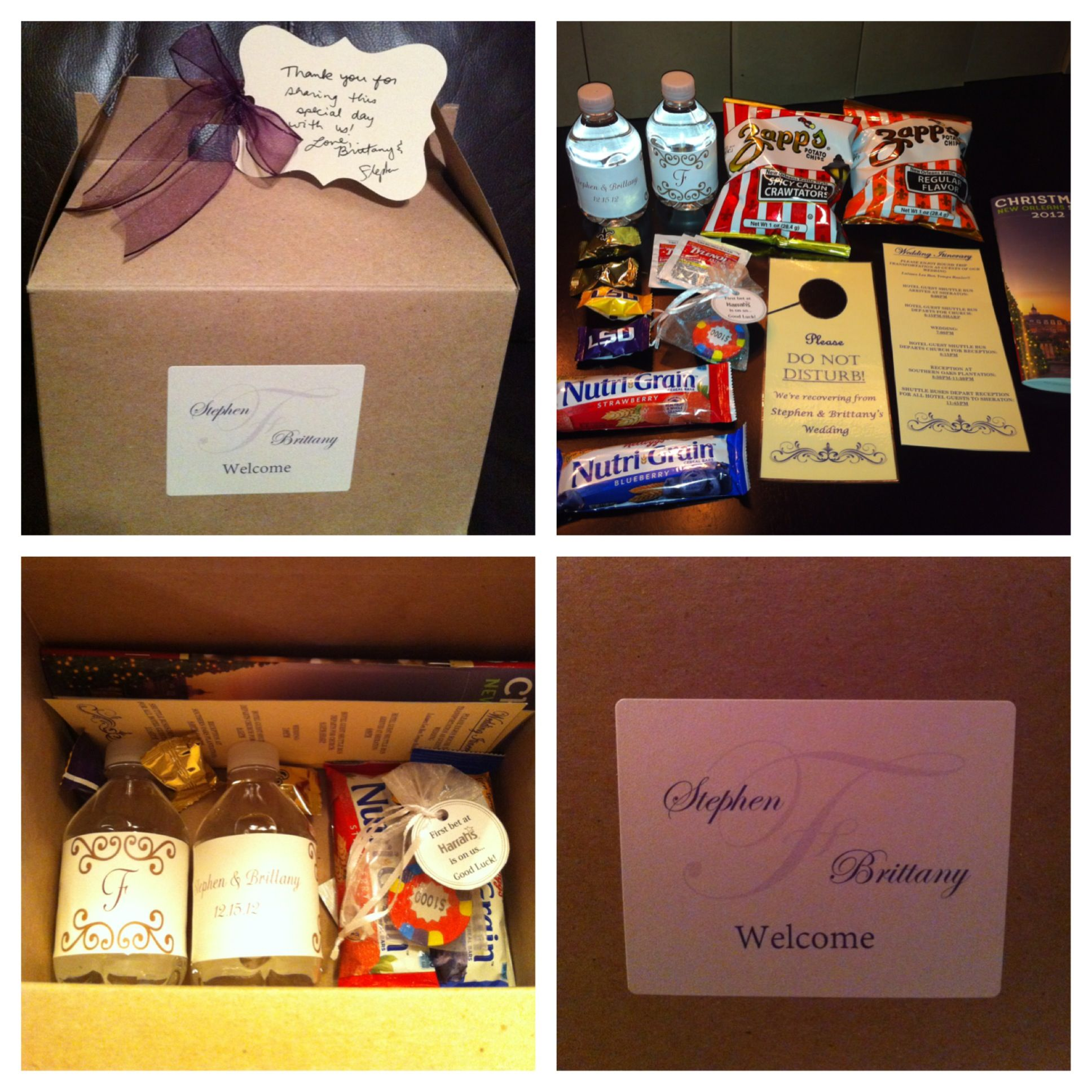 Wedding Hotel Guests Gift Boxes... New Orleans Style