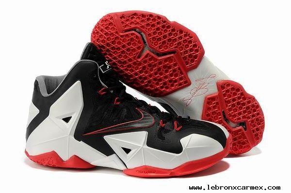 55a29d75452 Nike LeBron 11 Miami Heat Away Black White Red Shoes