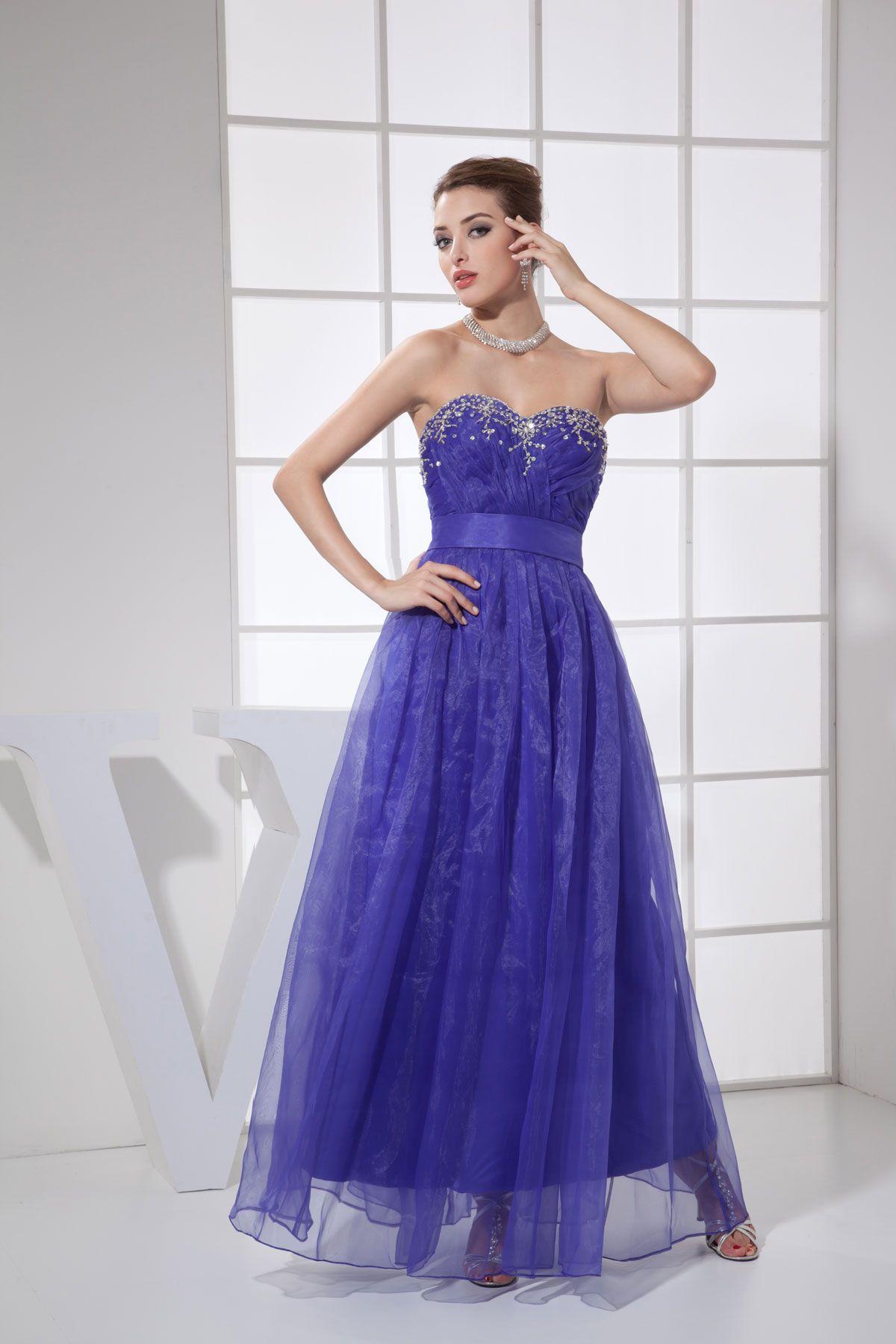 Purple floorlength sweetheart organza zipper prom dress prom