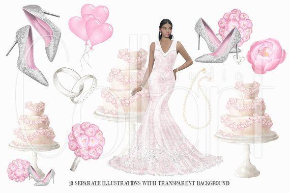 Wedding Clipart African American Girl Bridal Watercolor Clip Art Set Fashion Illustration Dark Skin Planner Stickers