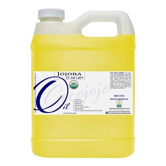USDA Certified Organic Golden Jojoba Oil 32 OZ - 100% Pure, Unrefined, Cold Pressed, Virgin, GMO Fre #jojobaoil
