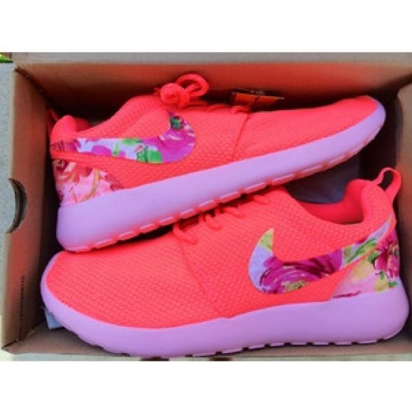 Roshes Custom coral & floral roshes Nike Shoes Athletic Shoes