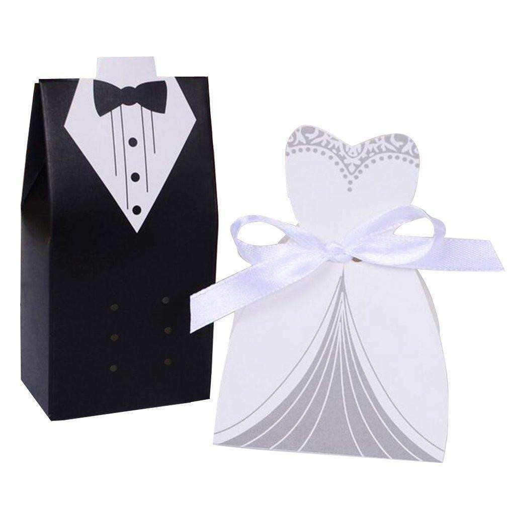 Groom Tuxedo & Bridal Dress Wedding Candy Boxes 50 Units Set ...