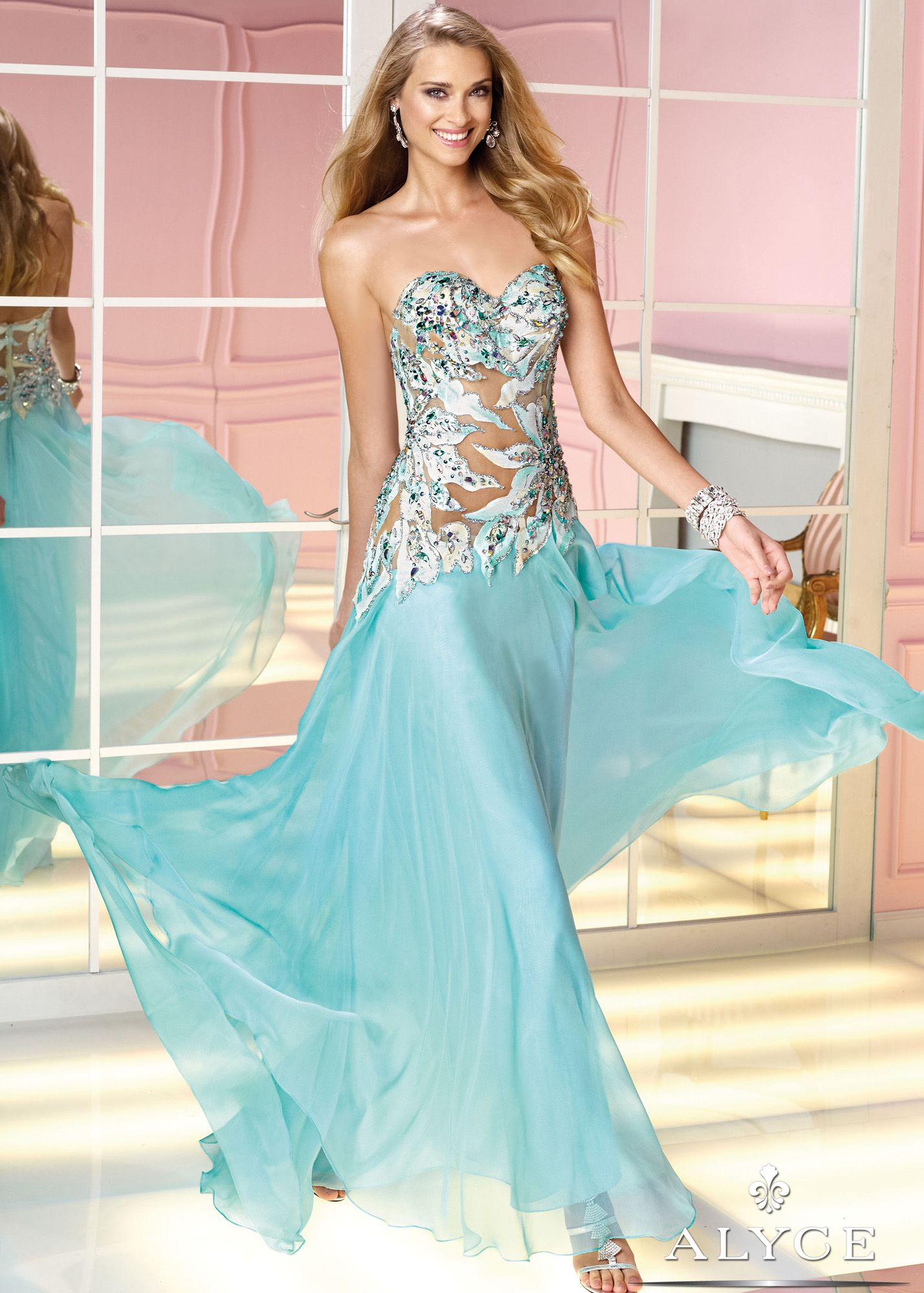 Alyce Prom 6202 - Hush Strapless Embroidered Chiffon Prom Dresses ...