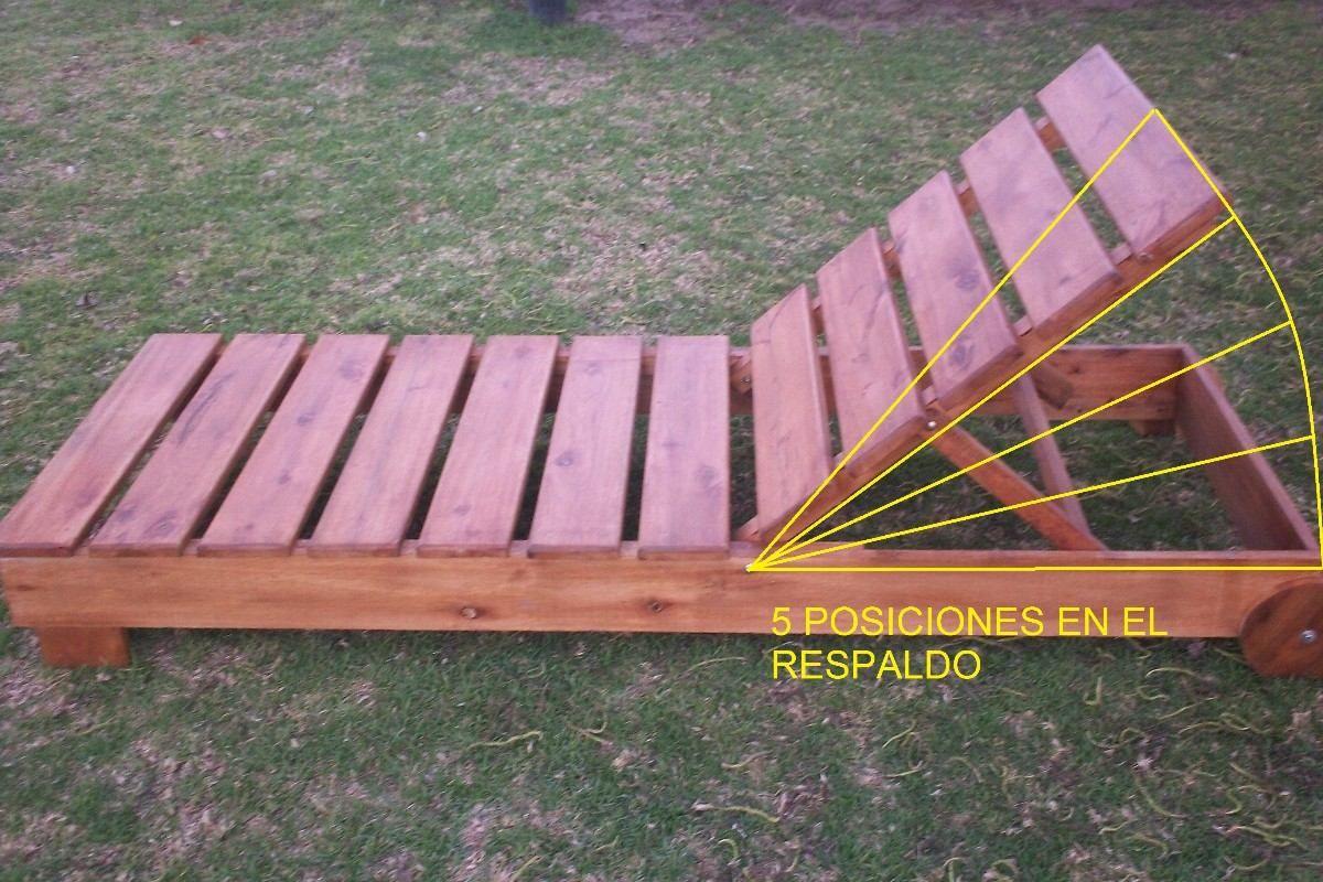 Camastro reposera de madera con ruedas entrega inmediata for Camastros para jardin