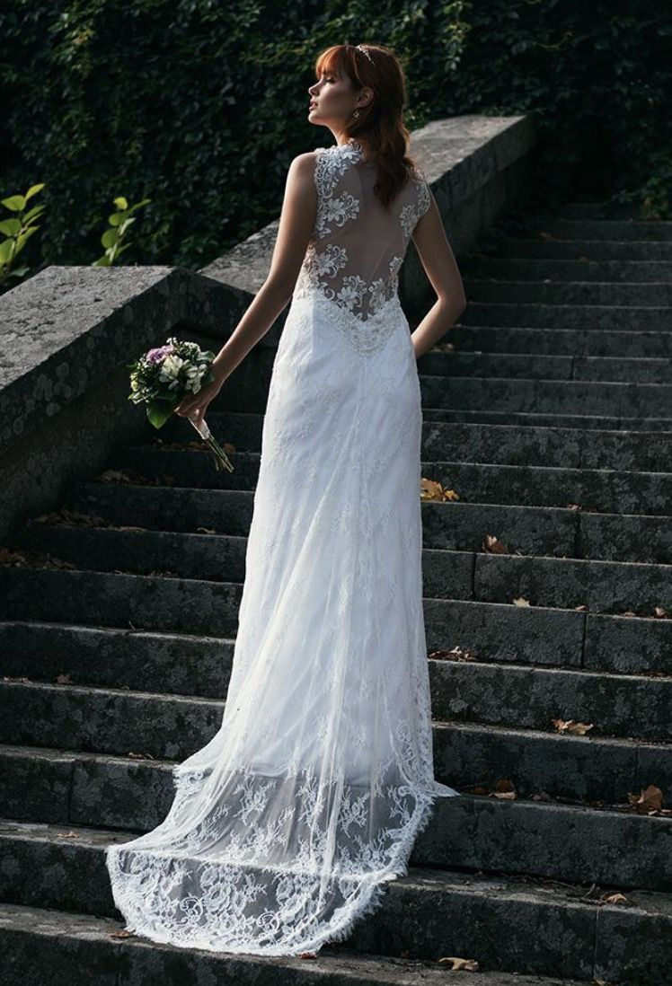 Backless lace wedding gown modern wedding gown illusion