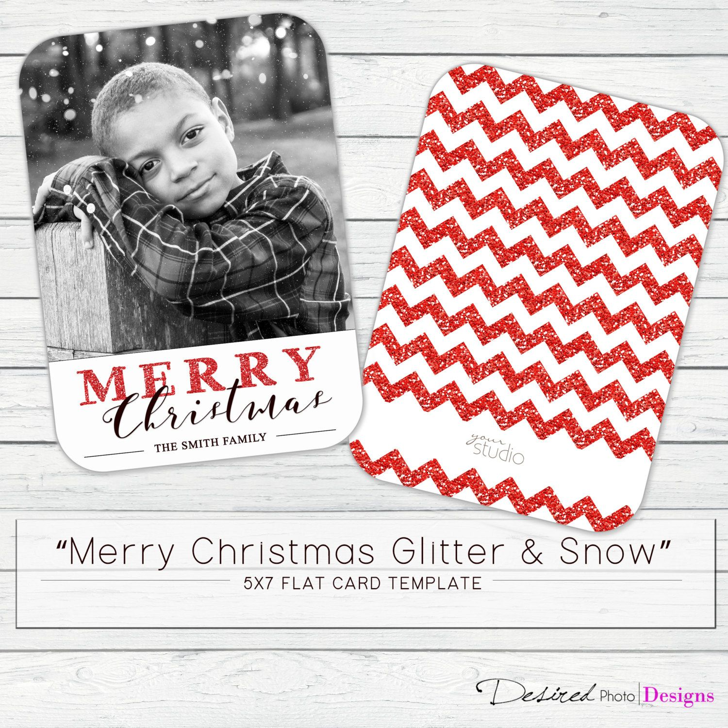 5x7 Merry Christmas Glitter Snow Flat Card Template Whcc By Desiredphotodesigns On Etsy Glitter Christmas Card Template Merry