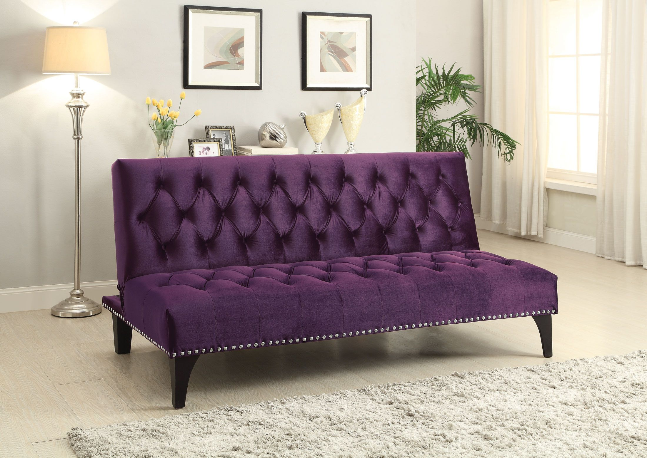 Coaster Furniture Purple Sofa Bed Velvet Sofa Bed Purple Sofa