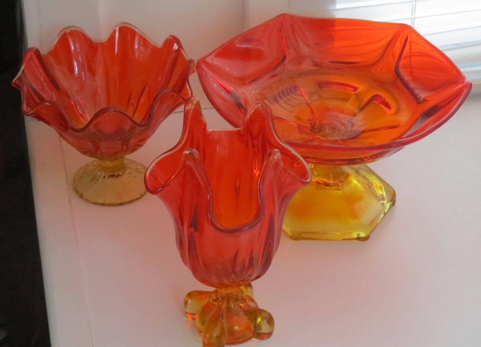 3 vintage mid century viking glass amberina bowls and handkerchief 3 vintage mid century viking glass amberina bowls and handkerchief vase reviewsmspy