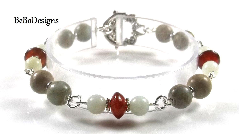 Aqua Terra Jasper, Carnelian, and Amazonite Beaded Gemstone Bracelet by BeBoDesigns on Etsy