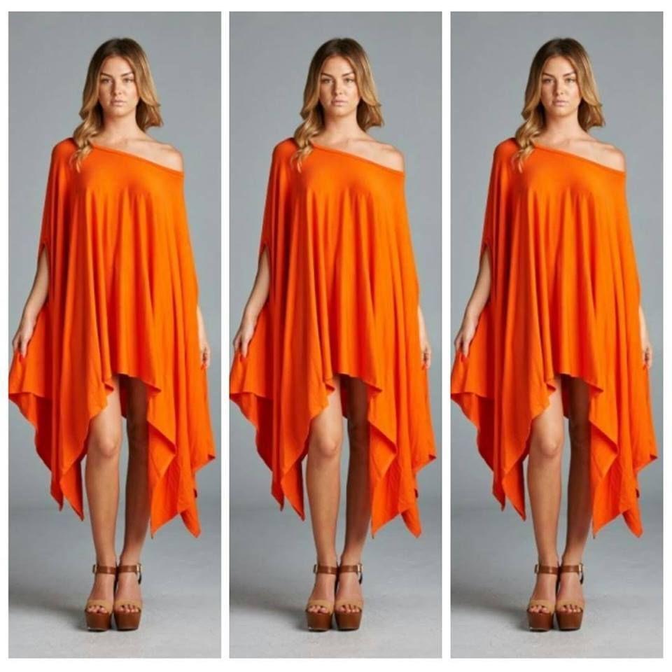 Cherish Top OS Orange Boho Chic Asymmetrical Poncho Tunic ...