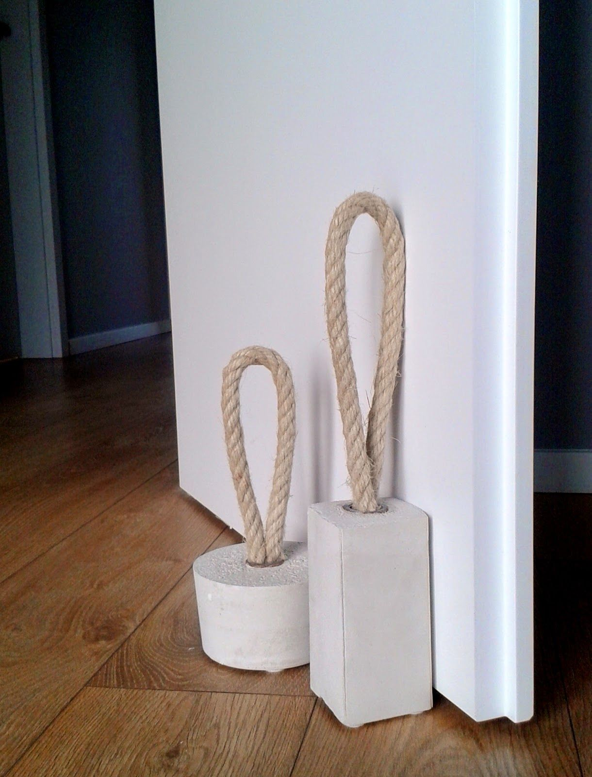 HOMEmade MAKEOVERS: Concrete Door Stoppers Tutorial SUPPLIES: Here is what  you need for this project: 1 meter of rope or very thick twine galvanized  coupler ...